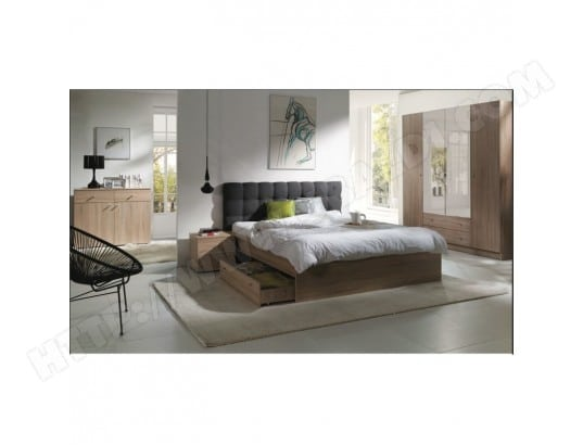 price factory chambre a coucher complete maxim lit adulte 160x200 cm tiroir sommier chevets commode armoire garde robe