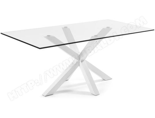 lf table de salle a manger arya 200 x 100 plateau verre pied blanc