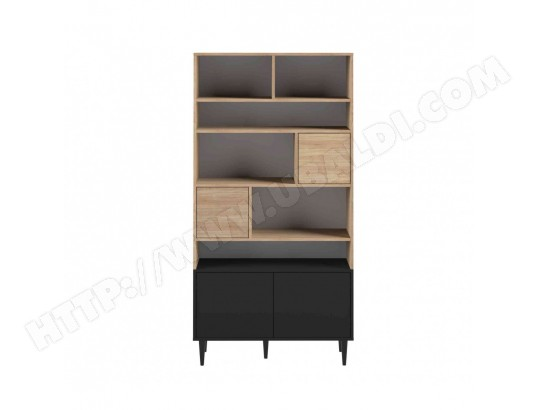 terre de nuit bibliotheque en bois noir avec placard et niche de rangement bi6004 w15sym089040180008