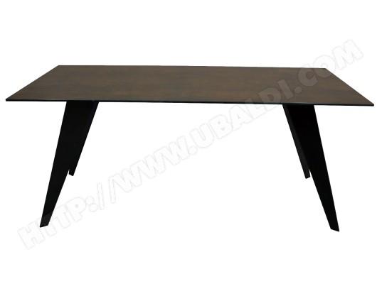 lf table de salle a manger nack 200x100 plateau ceramique brun