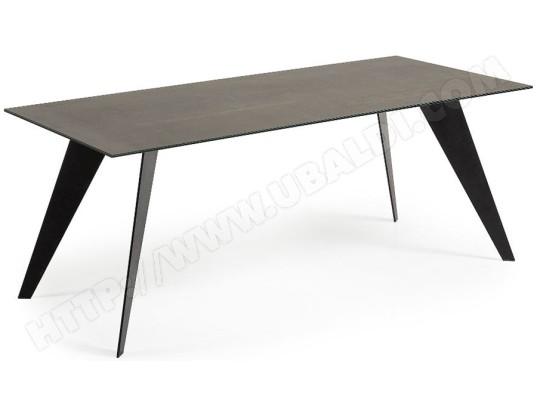 lf table de salle a manger nack 200 x 100 plateau ceramique brun fonce