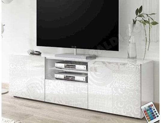 nouvomeuble petit meuble tv 120 cm blanc laque design elma ma 82ca487peti w17k0