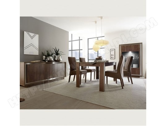nouvomeuble salle a manger moderne couleur bois et inox erine ma 82ca492sall vm6e3