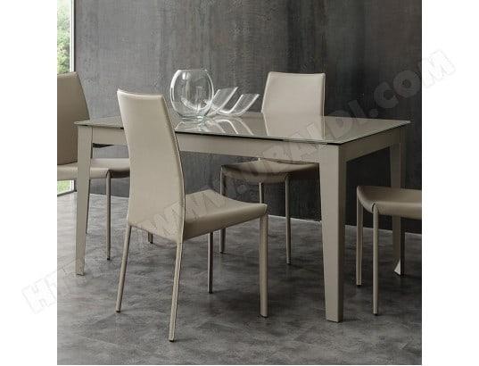 nouvomeuble table a manger taupe design en verre extensible alano ma 82ca492tabl hpveq