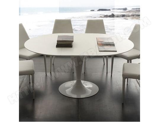 nouvomeuble table a manger ronde blanche avec rallonge cesario ma 82ca492tabl fp9uh