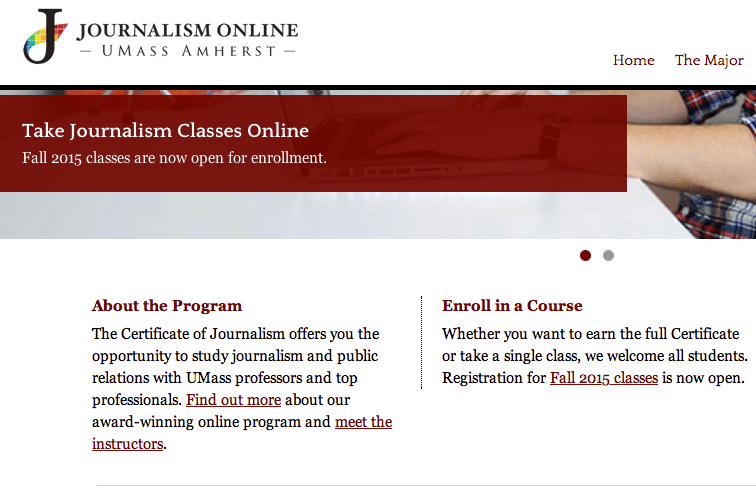 Screenshot of University of Massachusetts, Amherst's website for their online journalism program, which offers a 15-credit online certificate.
