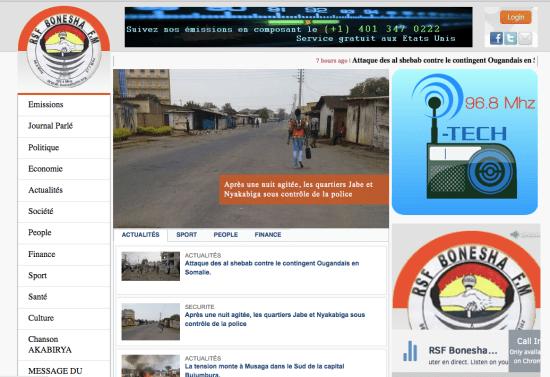 Screenshot from Bonesha FM's website.