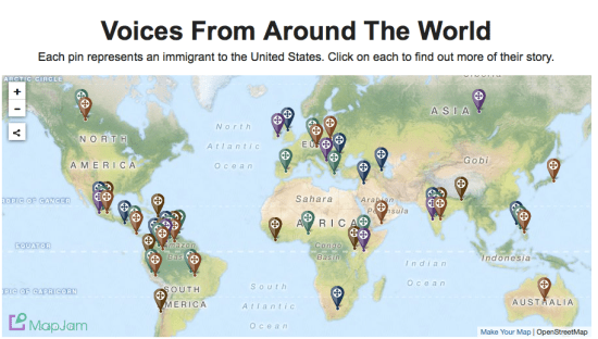 The Huffington Post used this map to help illustrate a story on immigration.