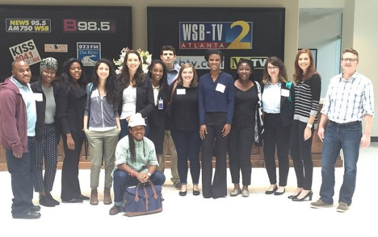 The 2015-2016 GNL met with Jodie Fleischer, award-winning investigative reporter for Channel 2, and got to tour the facility. Photo courtesy of the Georgia News Lab.