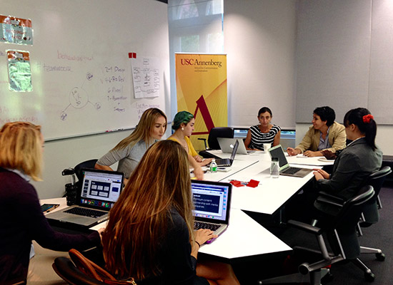 One team brainstorms ideas for an immersive journalism startup. USC Annenberg / Alex Reed