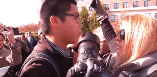 A video of a standoff between a student journalist and student teacher protestors at the University of Missouri is one of the latest videos to have gone viral and sparked discussion about race and civil rights reporting. Screenshot courtesy of Mark Schierbecker, who documented this footage.