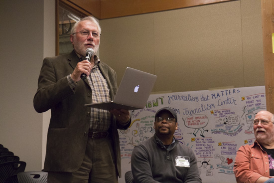 Mike Fancher, former executive editor of The Seattle Times, takes the mic during a group session at Experience Engagement. Photo by Emmalee McDonald.