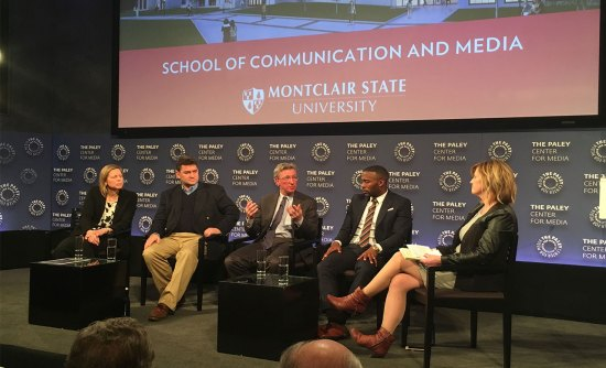 The Feb. 19 panel at the Paley Center for Media in Manhattan featured (L to R):  Val Ackerman (commissioner, Big East Conference), Felix Alvarez-Garmon (IMG Media, senior vice president, Latin America), New York Times sports columnist Harvey Araton and Cleveland Browns receiver Andrew Hawkins. Montclair State professor Kelly Whiteside (far right) moderated.