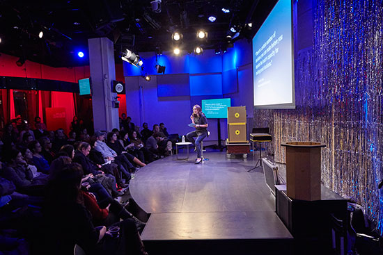 "Manoush Zomorodi, host of WNYC's Note to Self podcast, discusses the ""Infomagical"" engagement project before a live audience on January 20, 2016. (Photos by Matthew Septimus / Courtesy WNYC Studios)"
