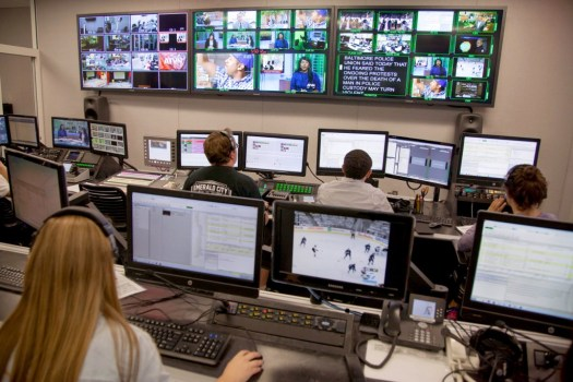 Another view of the ATVN control room shows USC Annenberg School for Communication and Journalism students running all facets of a nightly ATVN broadcast.  ©USC Annenberg/Brett Van Ort