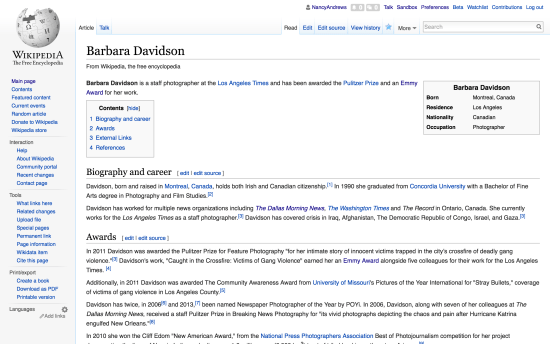 Screen view of Wikipedia page for Barbara Davidson