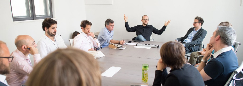 Evgeny Morozov, addressing a group of GEN participants in a follow up to his keynote speech at GEN Summit 2016. Photo: Luiza Puiu, European Forum Alpbach for GEN