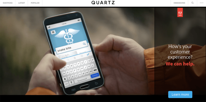 An example of Quartz's native advertising.