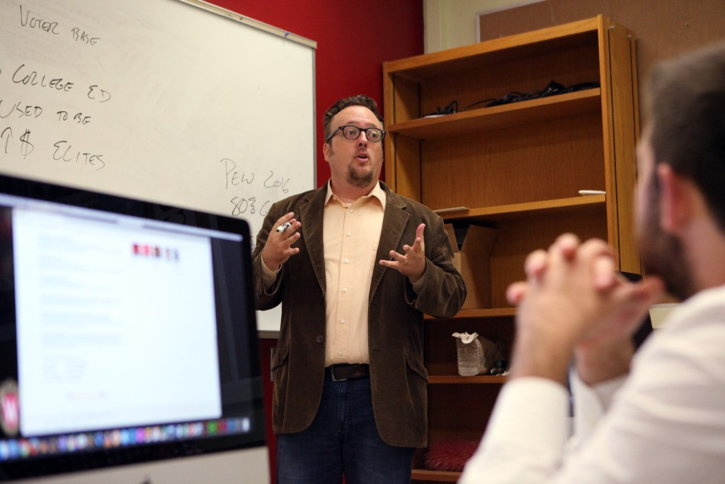 Prof. Michael Wagner leads The Observatory, a course helping students master fact-checking and explanatory journalism at the University of Wisconsin-Madison. (Photo courtesy of Coburn Dukehart, Wisconsin Center for Investigative Journalism)