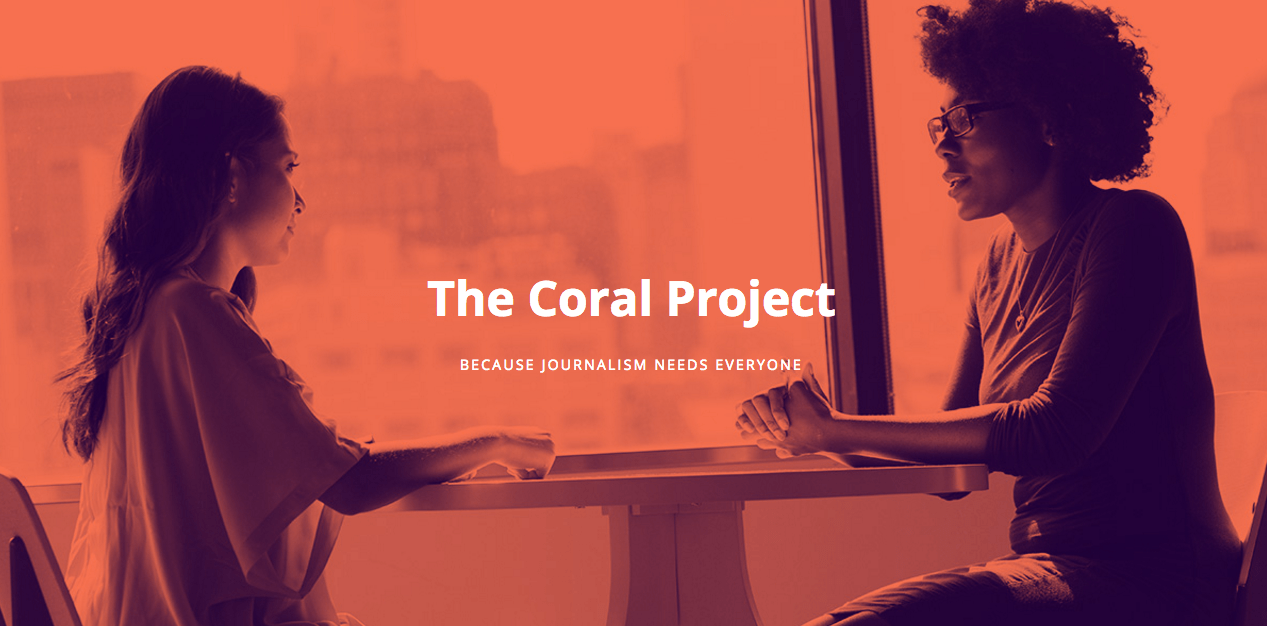 A screenshot from The Coral Project's website.