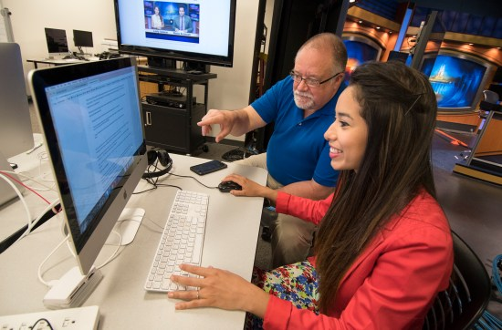 Senior lecturer Curt Chandler and Penn State senior Lesly Salazar were working on an independent study project when they decided to use Verse to prototype a new form of interactive newscast. (Photo by Cameron Hart / Bellisario College of Communications | Penn State University)