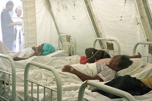 Victims of dengue fever lie in tents in Fogo, Cape Verde.