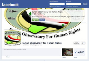 The Facebook page for the Syrian Observatory for Human Rights, one example of an activist social media account that provides information and videos.