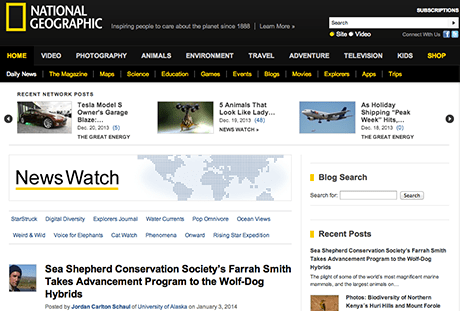 National Geographic's News Watch, where Fulbright fellows will blog