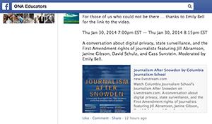 screenshot of ONA Educators on Facebook