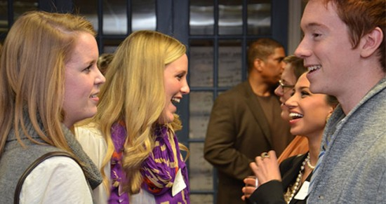 Students in the first two cohorts of the MA in Media Entrepreneurship mingle at a networking reception at 1776.