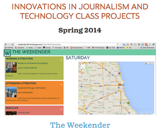 Screenshot of Knight Lab Weekender project