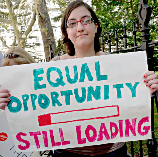 Net Neutrality supporter at a rally in New York City. (photo: Timothy Karr)