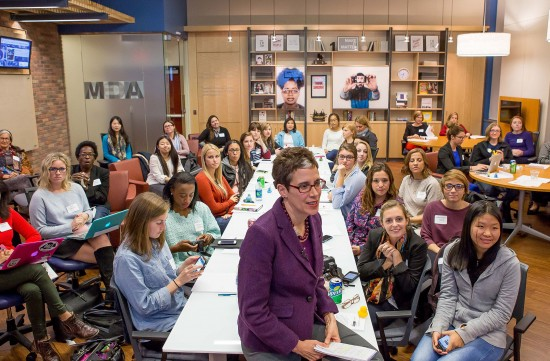 Photo by: David Smith WVU Reed College of Media Dean Maryanne Reed and hackathon participants interact with the women leaders in technology symposium at Google. The symposium kicked off the Hackathon Friday, Oct. 24, 2014.