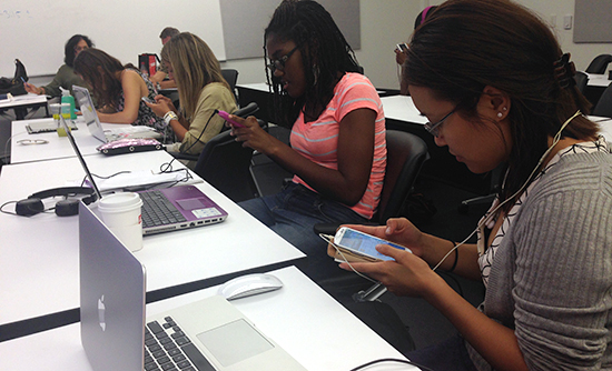 Students at USC edit on their mobile devices