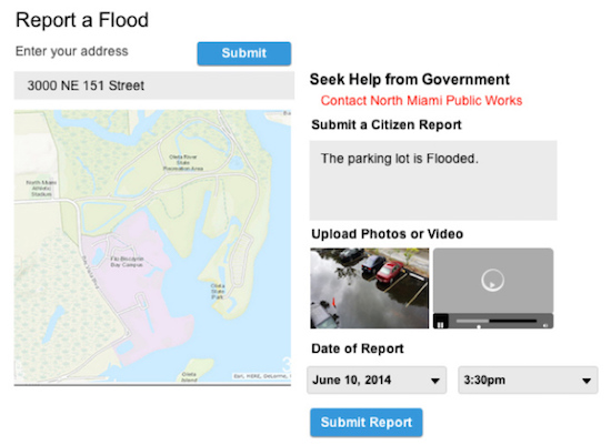 This early depiction of the eyesontherise.org Climate Risk Toolbox shows how users will interact with data about flooding as South Florida's seas rise.