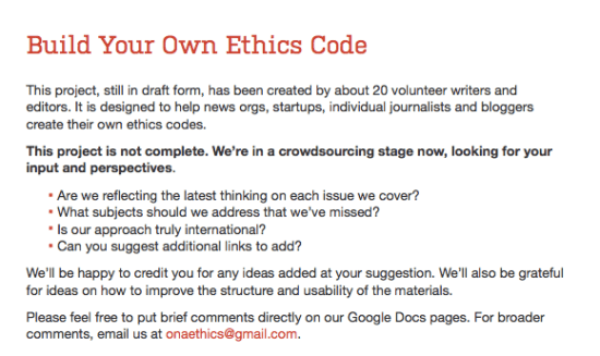 The Online News Association is helping journalists create their own ethics codes.