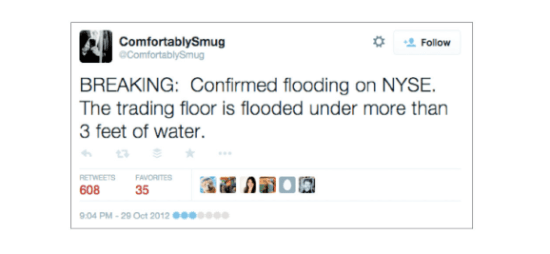 This fake tweet (above) set off a ripple of misinformation (below).