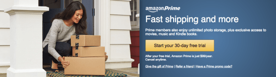 Amazon Prime's membership pitch. Screenshot courtesy of Amazon.com