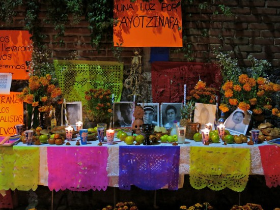 "An offering in the town of Ocotepec for the 43 missing students of Ayotzinapa, Mexico. Photo by Flickr user ""rainy city"" and reused here with Creative Commons license."