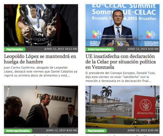 "La Patilla, a news aggregator fiercely critical of the government, also posts plenty of ""click-bait"" photos and celebrity news. It is now one of Venezuela's top-10 websites, according to Web-metrics provider Alexa. Screenshot courtesy of La Patilla."