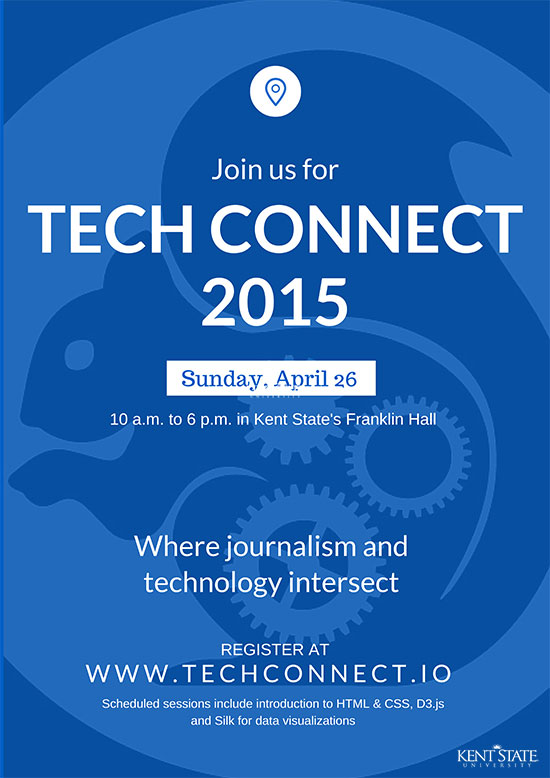 Posters designed in Canva were put up across the Kent State campus to promote TechConnect 2015.