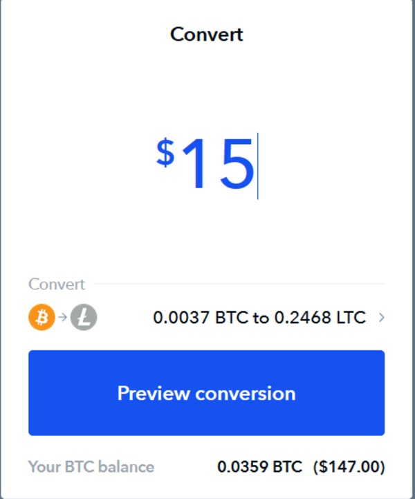 Coinbase preview conversion page.