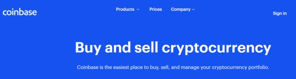 Coinbase buy and sell cryptocurrency screenshot.