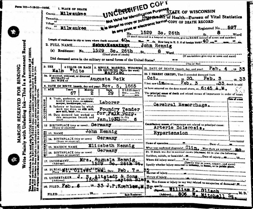 not John Hennig's Death Certificate