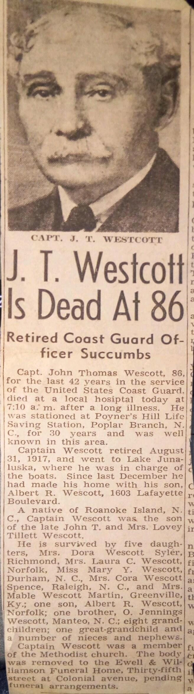 John T. Wescott dead at 86 Newspaper Article