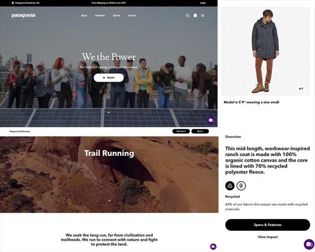Captures d'écran de diverses pages du site Web de Patagonia, toutes incluant la mention de l'objectif environnemental de Patagonia