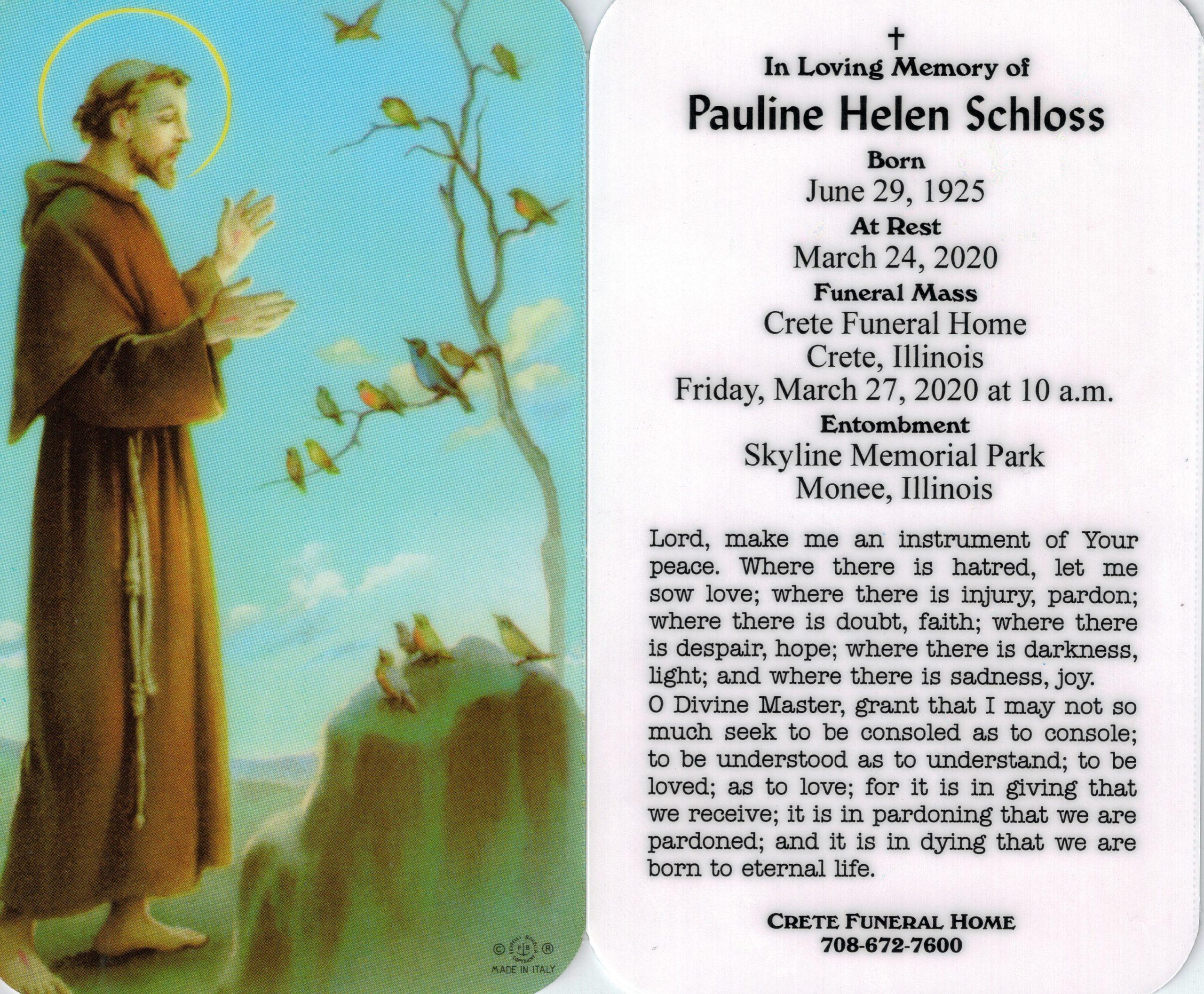 Pauline Funeral Card 3-24-20