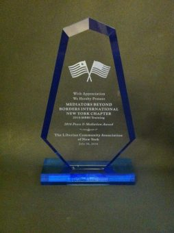 Liberian Community Organization of New York 2016 Peace & Mediation Award presented to the MBBI-NY – CUNY training team.