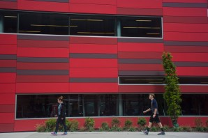 Students walk by the Campus Recreation Center.
