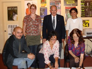 Ken Prairie and the bargaining team at signing of first contract with Design Action Collective.  Photo courtesy Gloria La Riva.
